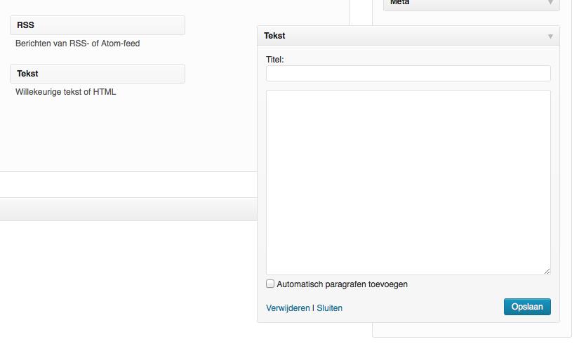 Een Tekst widget is een veelzijdige widget. Je kan o.a. tekst en HTML in plaatsen.