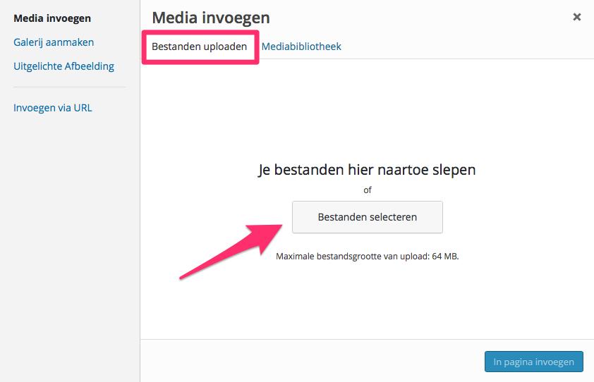 Een bestand in WordPress uploaden