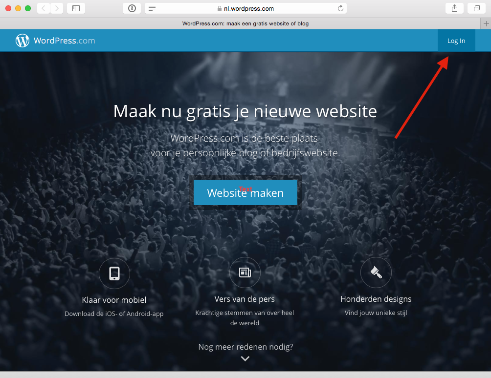 Log je in bij WordPress.com
