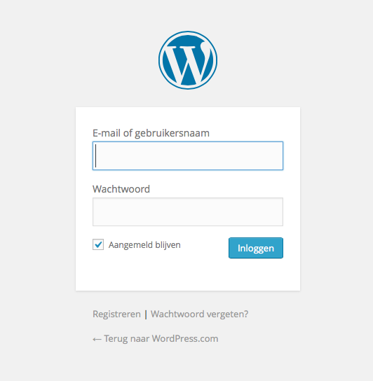 Inloggen in WordPress.com