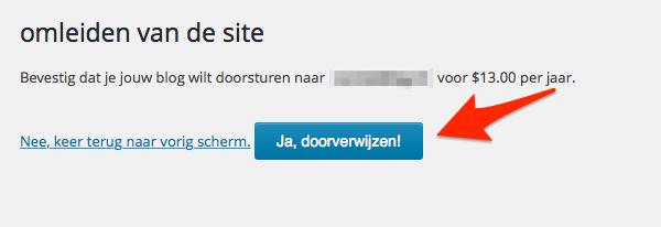 Doorverwijzing in WordPress.com bevestigen